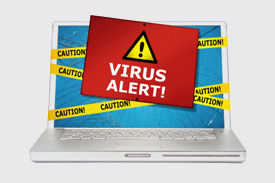 Laptop with a virus alert message