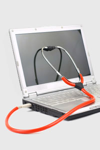 Computer with Stethoscope